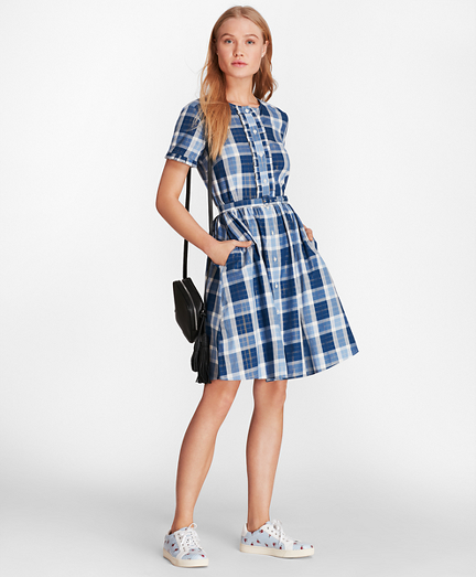 Shimmer Plaid Cotton-Blend Twill Shirt Dress