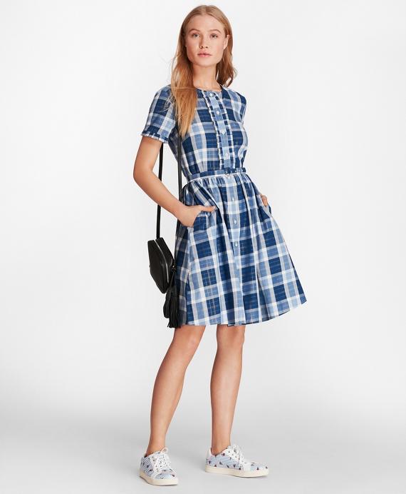 bf53088fefb90 Shimmer Plaid Cotton-Blend Twill Shirt Dress - Brooks Brothers