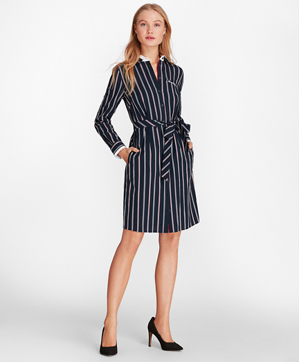 Striped Cotton Dobby Shirt Dress