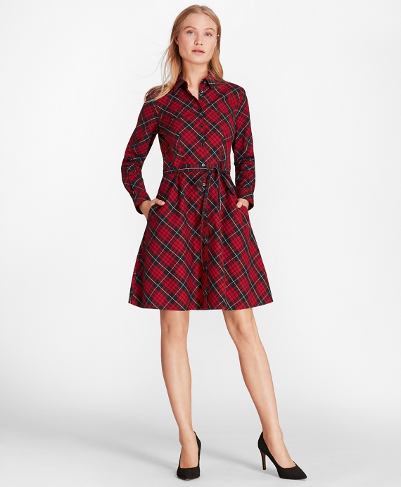 Plaid Cotton Twill A-Line Shirt Dress Red-Black
