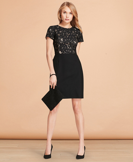 Floral Lace And Wool Twill Sheath Dress