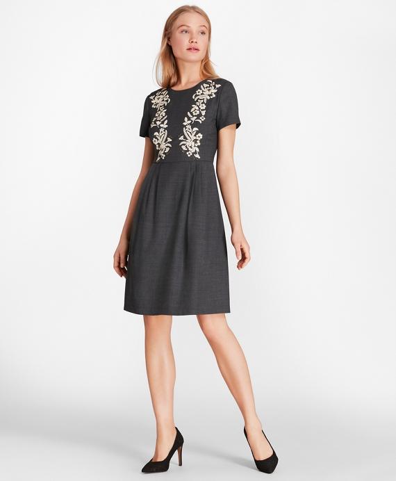 Floral-Embellished Wool-Blend Twill Dress Grey