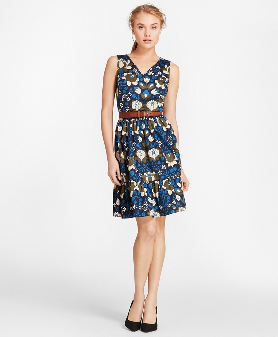 Floral-Print Cotton Sateen Flounce-Hem Dress Blue-Multi