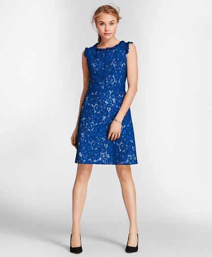 Ruffle-Trim Floral Lace Dress