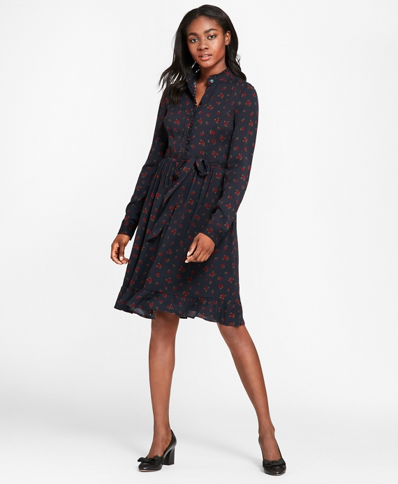 Rose-Print Crepe Ruffled Shirt Dress Navy