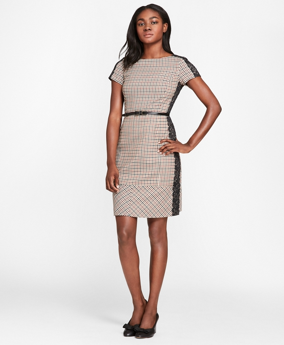 Lace-Trimmed Checked Wool-Blend Twill Dress Black-Brown