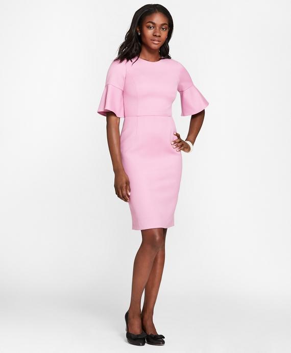 Stretch Wool-Blend Bell-Sleeve Sheath Dress Pink