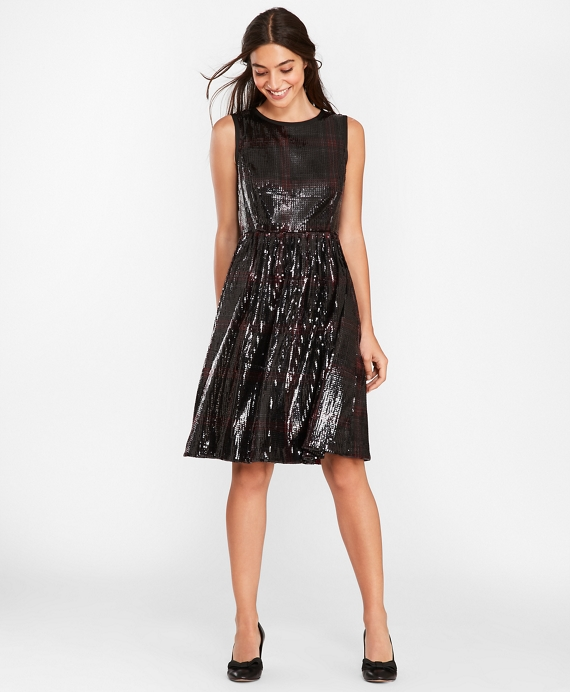 Sequined Plaid Dress Black-Red