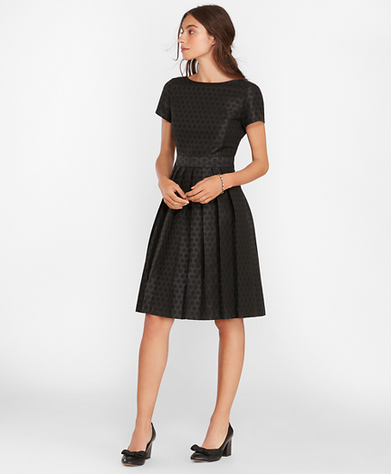 Polka-Dot Jacquard Pleated Dress