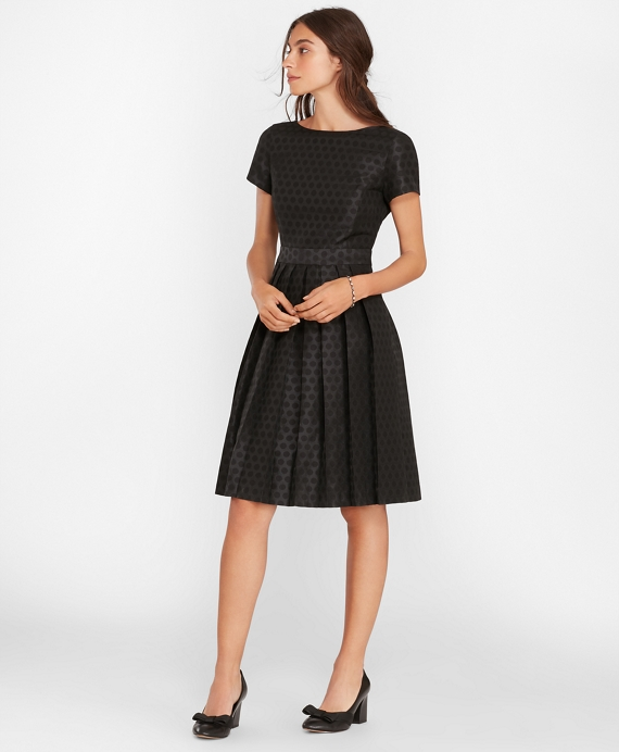 Polka-Dot Jacquard Pleated Dress Black