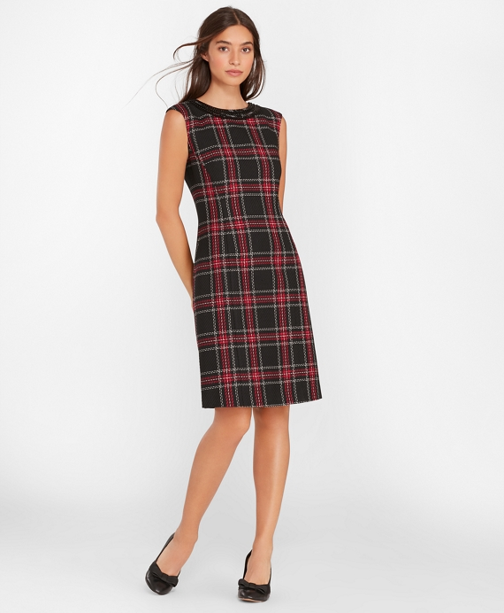 Beaded Plaid Sheath Dress Black-Red