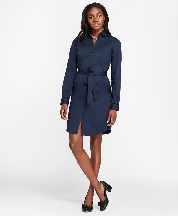 Velvet-Trimmed Cotton Sateen Shirt Dress Navy