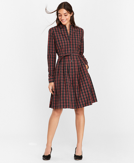 Plaid Clip-Dot Cotton Shirt Dress