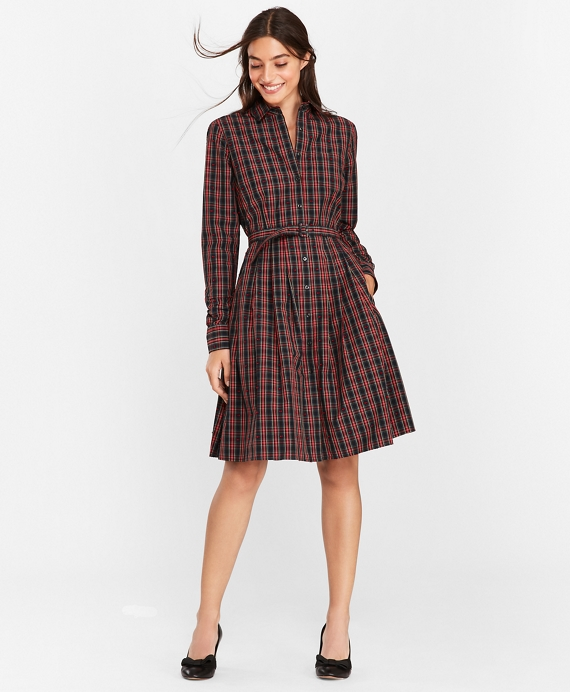 Plaid Clip-Dot Cotton Shirt Dress Navy-Multi