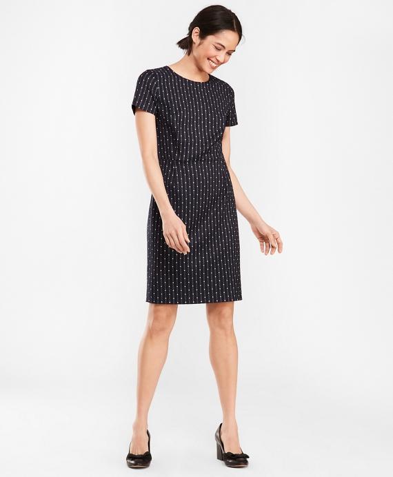 Polka-Dot Striped Wool-Blend Dress Navy