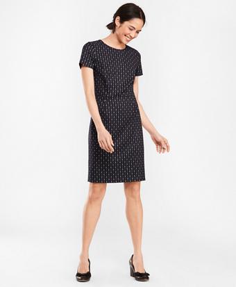 Polka-Dot Striped Wool-Blend Dress