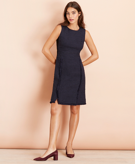 Cotton-Blend Shimmer Boucle Sheath Dress
