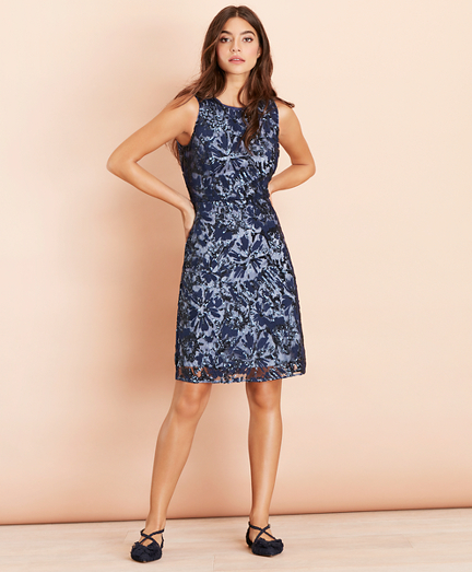 Sequined Floral Lace Dress