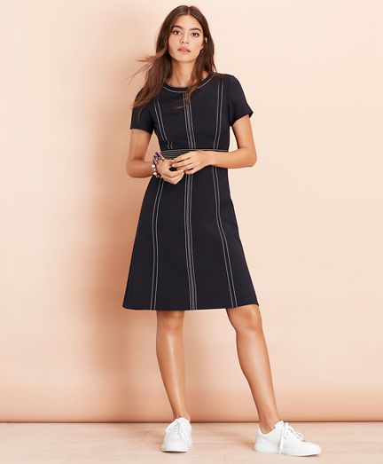 Topstitched Wool-Blend Crepe Dress