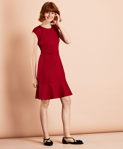Ponte-Knit Flounce-Hem Dress