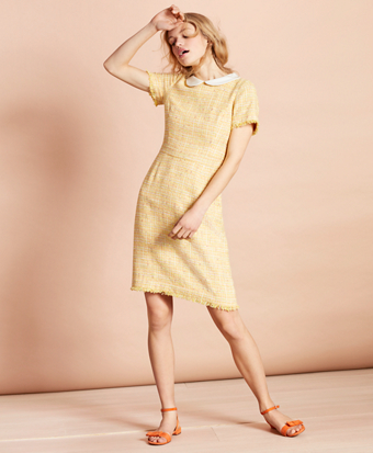 Peter-Pan-Collar Boucle Dress