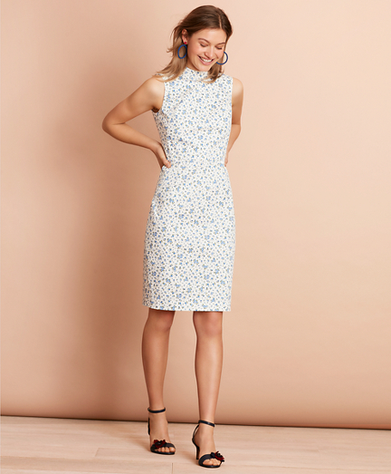 Floral-Print Stretch Cotton Sateen Sheath Dress