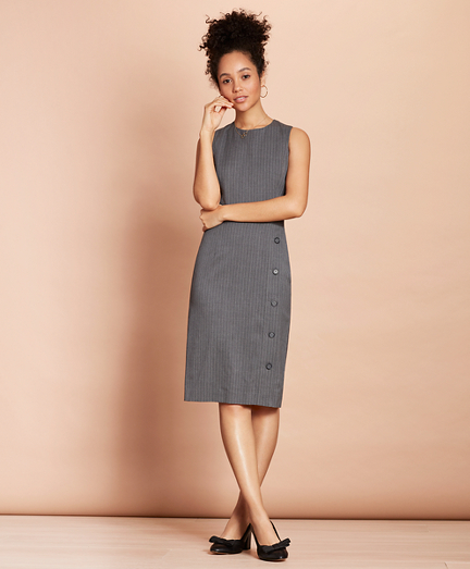 Pinstripe Stretch-Wool Button-Slit Sheath Dress