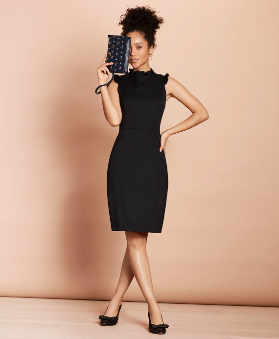Ruffle-Trimmed Stretch-Wool Sheath Dress Black