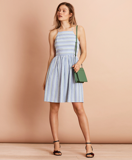 Seersucker Cotton Halter Dress