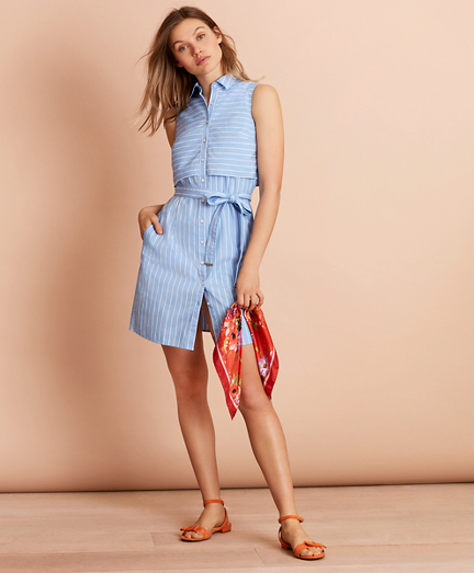 Striped Cotton Poplin Shirt Dress