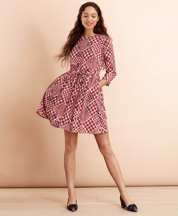 Floral Houndstooth-Print Dress Red