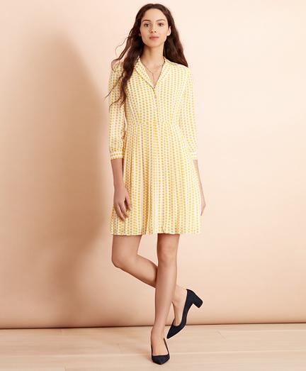 Polka-Dot Crepe Shirt Dress