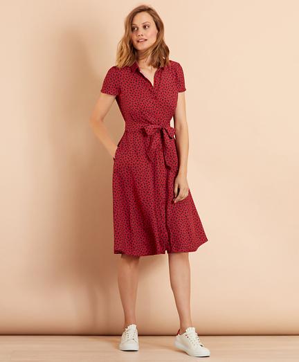 Floral-Print Dobby Midi Shirt Dress