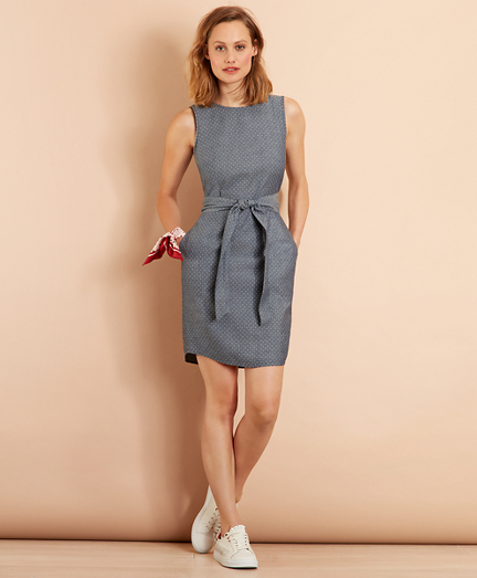 Polka-Dot Chambray Dress
