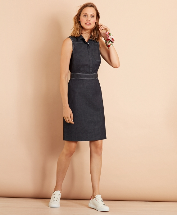Stretch Cotton Denim Dress Dark Blue