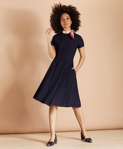 Wool-Blend Twill A-Line Dress
