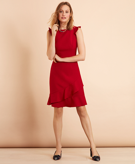 Ruffled Stretch-Wool-Blend Dress