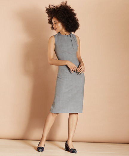Bow-Neck Wool-Blend Twill Sheath Dress