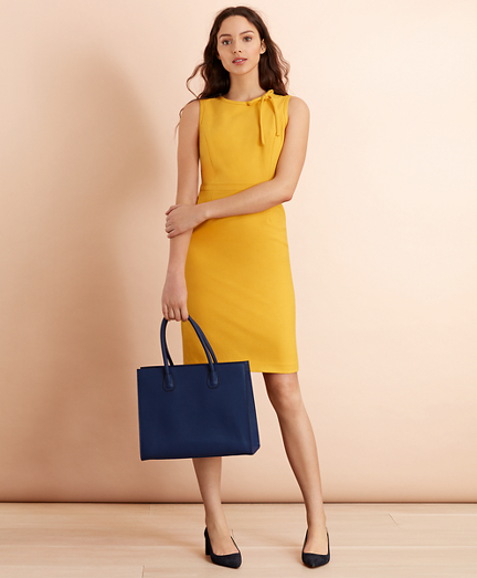 Bow-Neck Wool-Blend Twill Sheath Dress