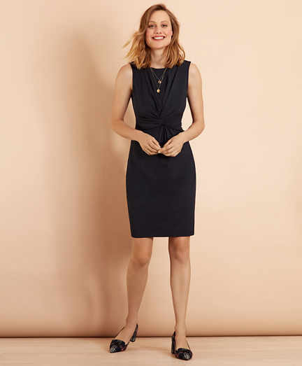 Ruched Knot Jersey Sheath Dress