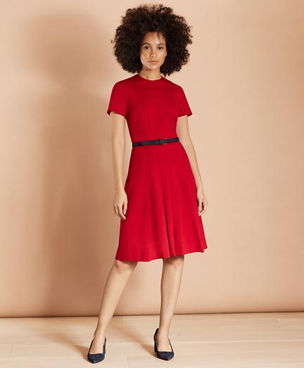 Ponte Knit Pleated Dress