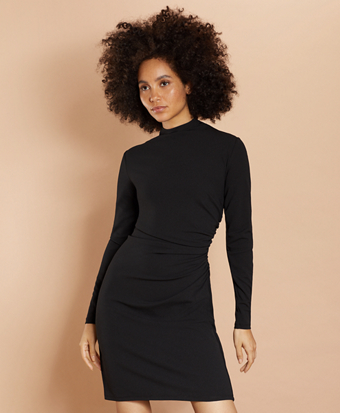 Crepe Jersey Ruched Sheath Dress