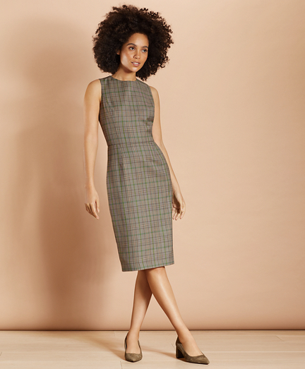 Plaid Wool Twill Sheath Dress