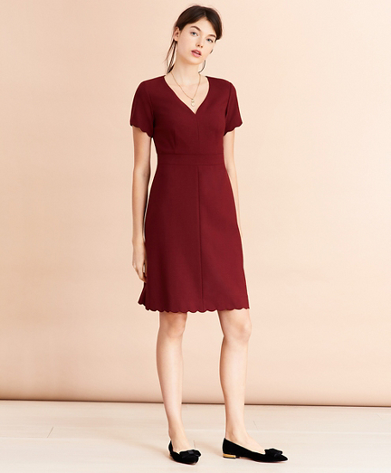 Wool-Blend Twill Scalloped-Hem Dress