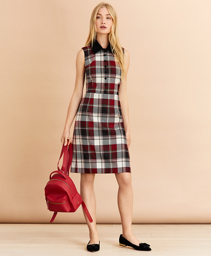 Velvet-Trimmed Plaid Wool-Blend Shirt Dress