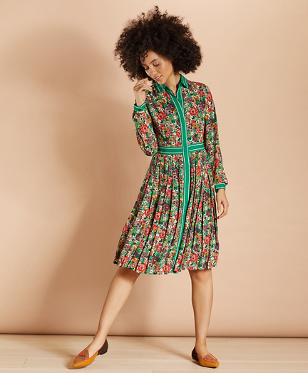 Floral-Print Crepe Pleated Shirt Dress