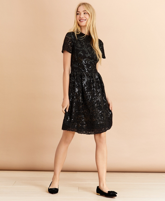 Sequined Lace Dress Black
