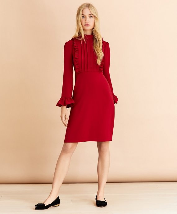 Crepe Ruffle-Trimmed Dress Red