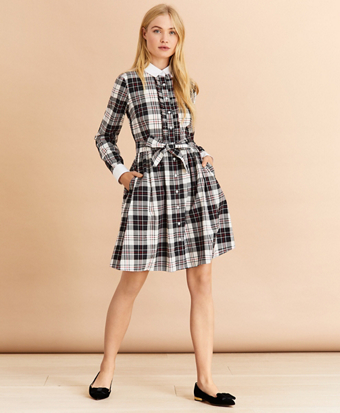 Contrast-Collar Plaid Cotton Flannel Shirt Dress