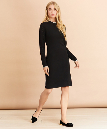 Scalloped-Edge Sweater Dress